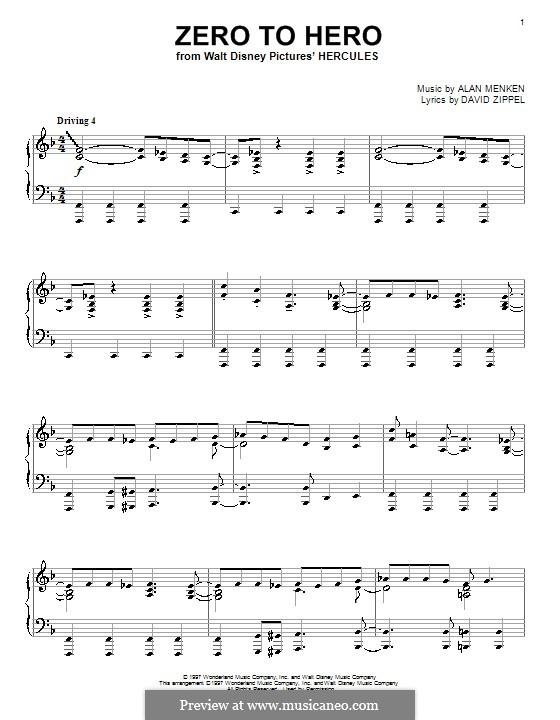 Zero to Hero (from Disney's Hercules): Für Klavier by Alan Menken