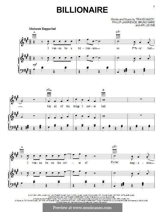 Billionaire: Für Stimme und Klavier (oder Gitarre) by Ari Levine, Bruno Mars, Philip Lawrence, Travis McCoy