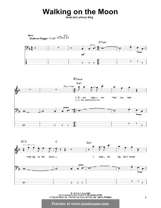Walking on the Moon (The Police): Für Bassgitarre mit Tabulatur by Sting