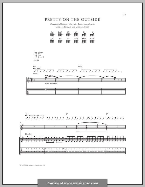 Pretty on the Outside (Bullet for My Valentine): Für Gitarre mit Tabulatur by Don Gilmore, Jason James, Matthew Tuck, Michael Paget, Michael Thomas