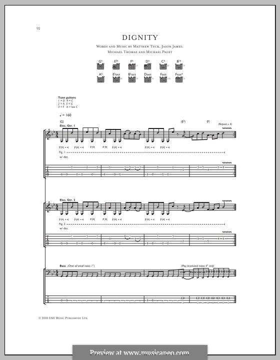 Dignity (Bullet for My Valentine): Für Gitarre mit Tabulatur by Don Gilmore, Jason James, Matthew Tuck, Michael Paget, Michael Thomas