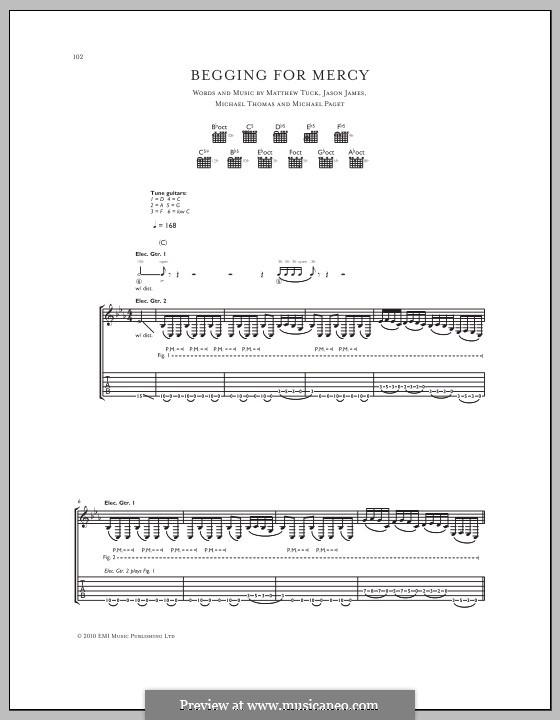 Begging for Mercy (Bullet for My Valentine): Für Gitarre mit Tabulatur by Don Gilmore, Jason James, Matthew Tuck, Michael Paget, Michael Thomas