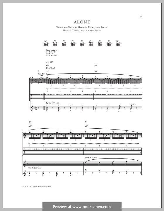 Alone (Bullet for My Valentine): Für Gitarre mit Tabulatur by Don Gilmore, Jason James, Matthew Tuck, Michael Paget, Michael Thomas