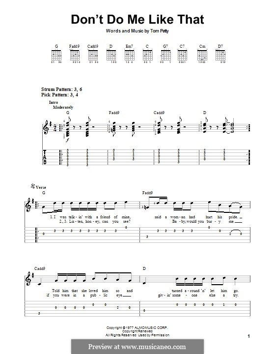 Don't Do Me Like That (Tom Petty and The Heartbreakers): Für Gitarre (Sehr leichte Fassung) by Tom Petty
