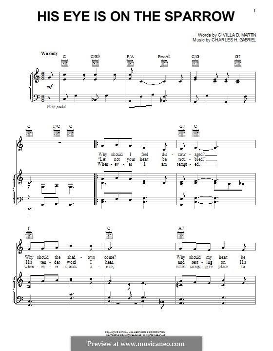 His Eye Is on the Sparrow (Ethel Waters): Für Stimme und Klavier (oder Gitarre) by Charles Hutchinson Gabriel