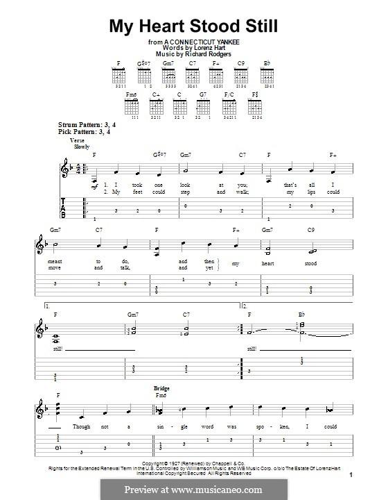 My Heart Stood Still: Für Gitarre (leicht, mit Tabulatur) by Richard Rodgers