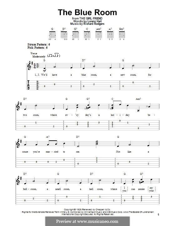 The Blue Room: Für Gitarre (leicht, mit Tabulatur) by Richard Rodgers