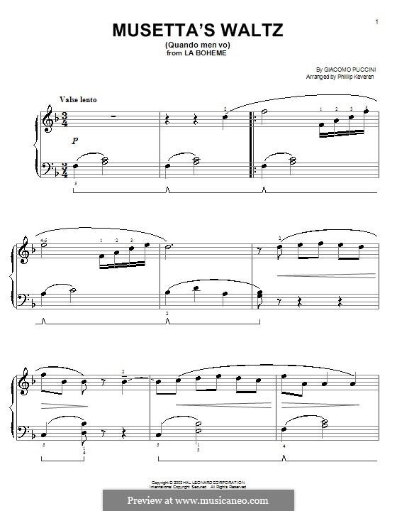 Quando men vo (Musetta's Waltz): Für Klavier, leicht by Giacomo Puccini