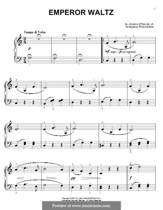 Kaiser-Walzer, Op.437: Klavierversion für Anfänger by Johann Strauss (Sohn)