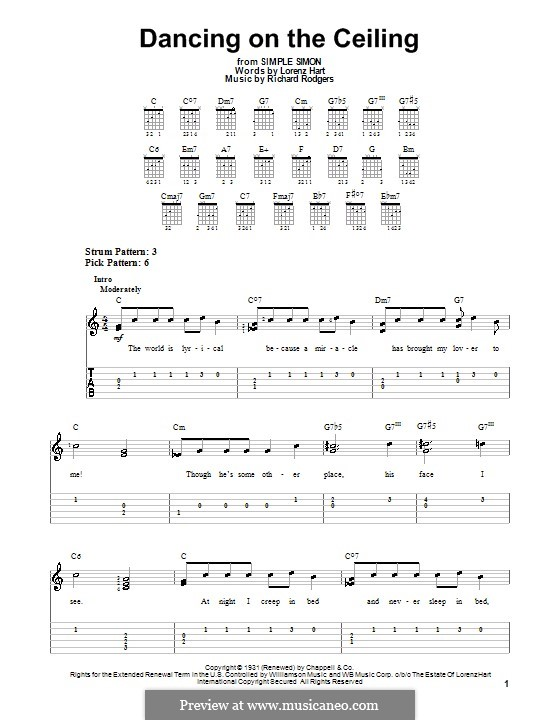 Dancing on the Ceiling: Für Gitarre (leicht, mit Tabulatur) by Richard Rodgers