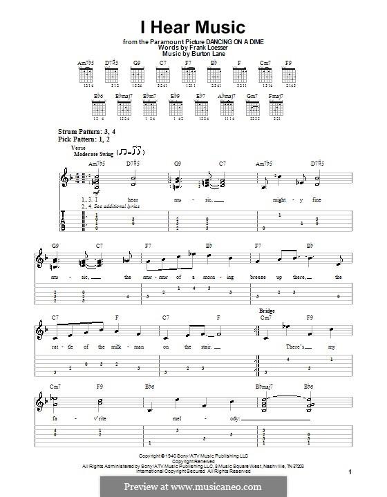 I Hear Music: Für Gitarre (Sehr leichte Fassung) by Burton Lane