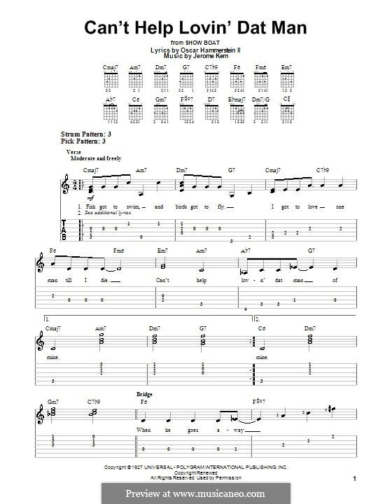Can't Help Lovin' Dat Man (from Show Boat): Für Gitarre (leicht) by Jerome Kern