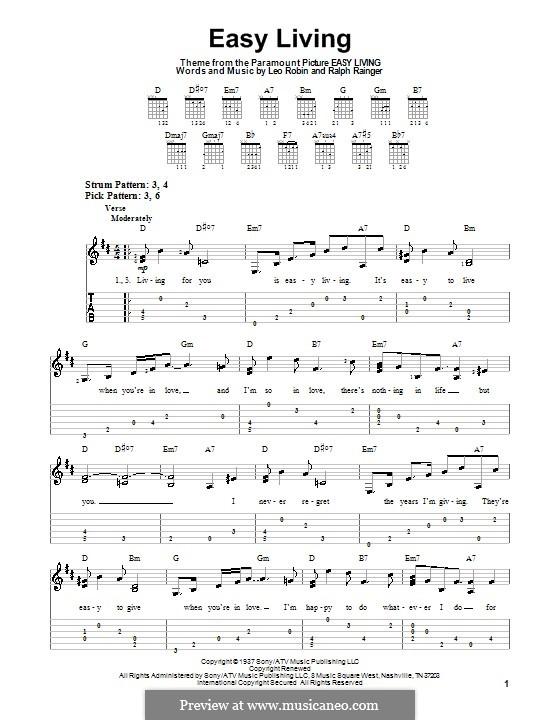 Easy Living (Billie Holiday): Für Gitarre (Sehr leichte Fassung) by Leo Robin, Ralph Rainger