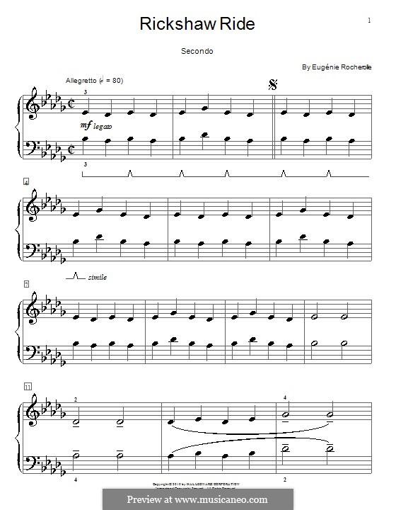 Rickshaw Ride: Für Klavier, vierhändig by Eugénie Rocherolle
