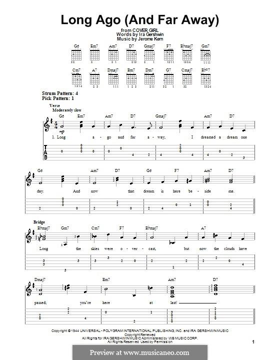 Long Ago (and Far Away): Für Gitarre (leicht, mit Tabulatur) by Jerome Kern