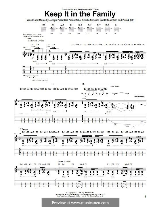 Keep It in the Family (Anthrax): Für Gitarre mit Tabulatur by Charlie Benante, Daniel Spitz, Frank Bello, Joseph Bellardini, Scott Ian Rosenfeld