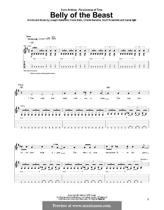 Belly of the Beast (Anthrax): Für Gitarre mit Tabulatur by Charlie Benante, Daniel Spitz, Frank Bello, Joseph Bellardini, Scott Ian Rosenfeld