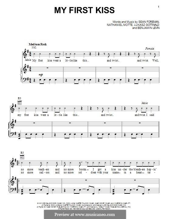 My First Kiss (3OH!3 featuring Ke$ha): Für Stimme und Klavier (oder Gitarre) by Benjamin Levin, Lukas Gottwald, Nathaniel Motte, Sean Foreman