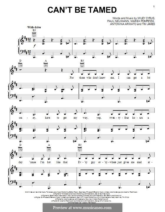 Can't Be Tamed (Miley Cyrus): Für Stimme und Klavier (oder Gitarre) by Antonina Armato, Marek Pompetzki, Paul Neumann, Timothy James