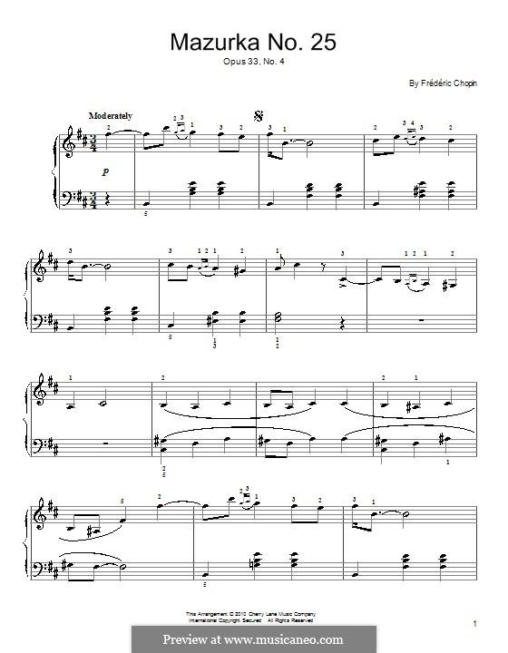 Mazurkas, Op.33: Nr.4 in h-Moll by Frédéric Chopin