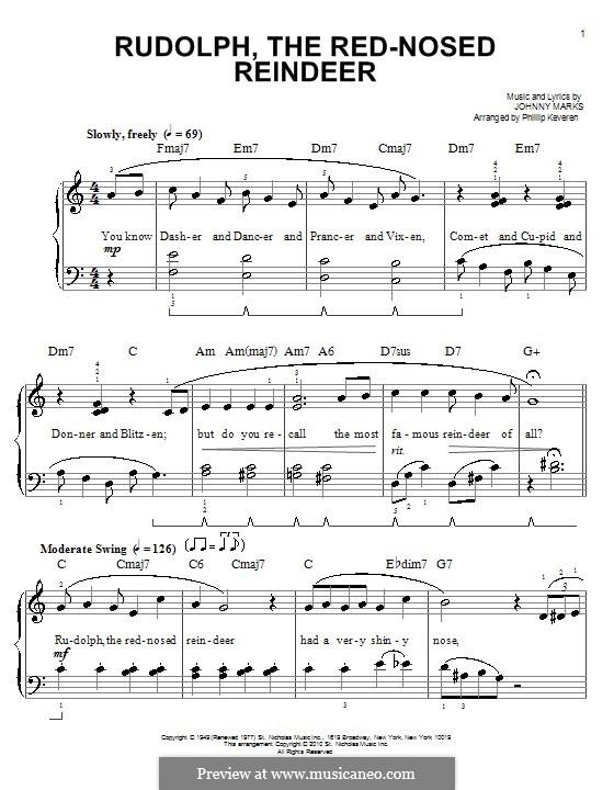 Rudolph the Red-Nosed Reindeer: Für Klavier, leicht by Johnny Marks