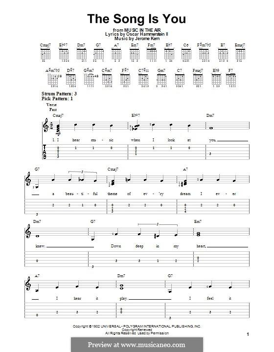 The Song is You: Für Gitarre (leicht, mit Tabulatur) by Jerome Kern