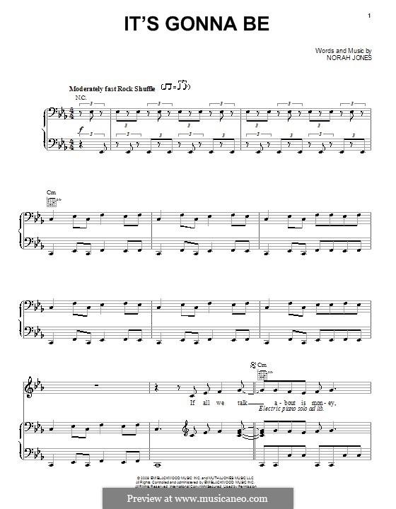 It's Gonna Be: Für Stimme und Klavier (oder Gitarre) by Norah Jones