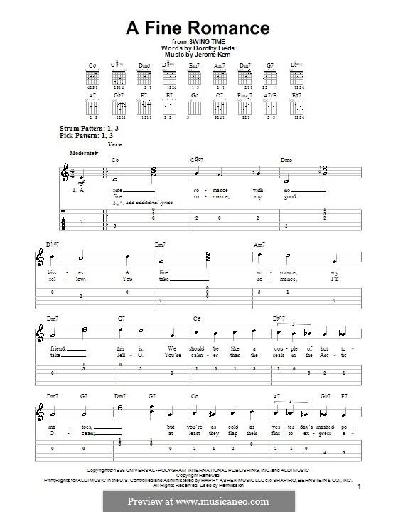 A Fine Romance: Für Gitarre (leicht, mit Tabulatur) by Jerome Kern