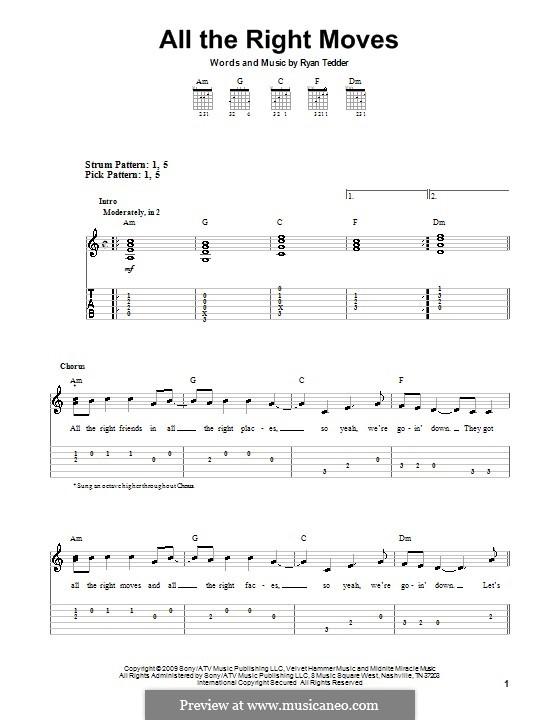 All the Right Moves (OneRepublic): Für Gitarre (Sehr leichte Fassung) by Ryan B Tedder