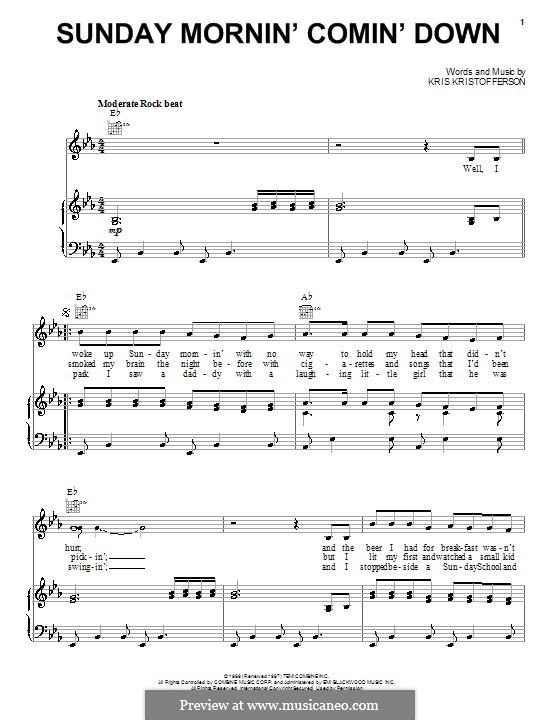 Sunday Mornin' Comin' Down: Für Stimme und Klavier (oder Gitarre) by Kris Kristofferson