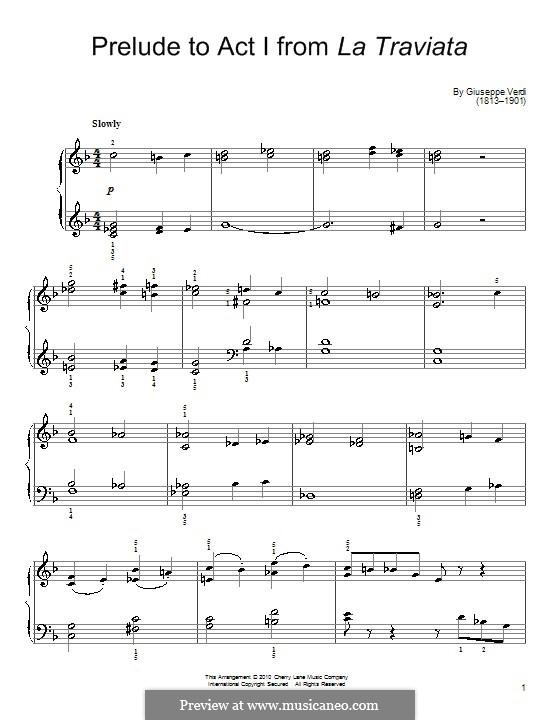 Fragmente: Akt I Nr.1 Präludium, einfache Noten für Klavier by Giuseppe Verdi