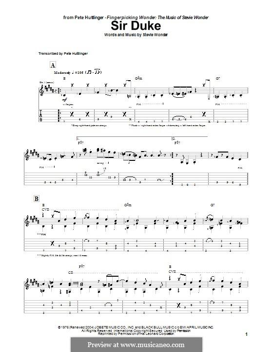 Sir Duke: Für Gitarre mit Tabulatur by Stevie Wonder