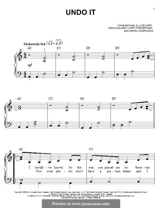 Undo It: Für Klavier, leicht by Kara DioGuardi, Luke Laird, Martin Frederiksen