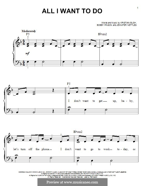 All I Want To Do (Sugarland): Für Klavier, leicht by Bobby Pinson, Jennifer Nettles, Kristian Bush