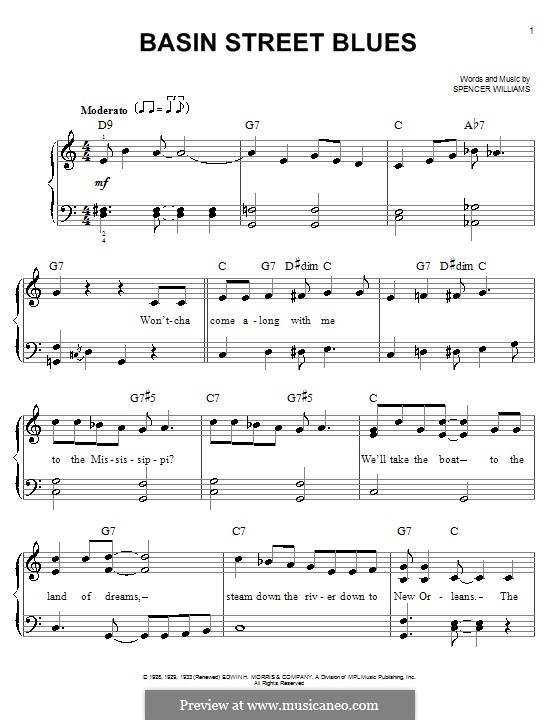 Basin Street Blues (Louis Armstrong): Für Klavier, leicht by Spencer Williams