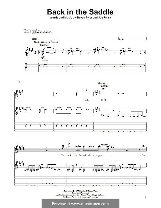 Back in the Saddle (Aerosmith): Für Gitarre mit Tab by Joe Perry, Steven Tyler