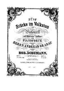 Fünf Stücke im Volkston, Op.102: Partitur by Robert Schumann