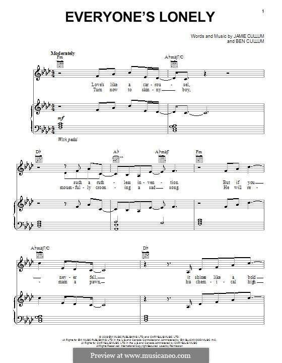 Everyone's Lonely: Für Stimme und Klavier (oder Gitarre) by Ben Cullum