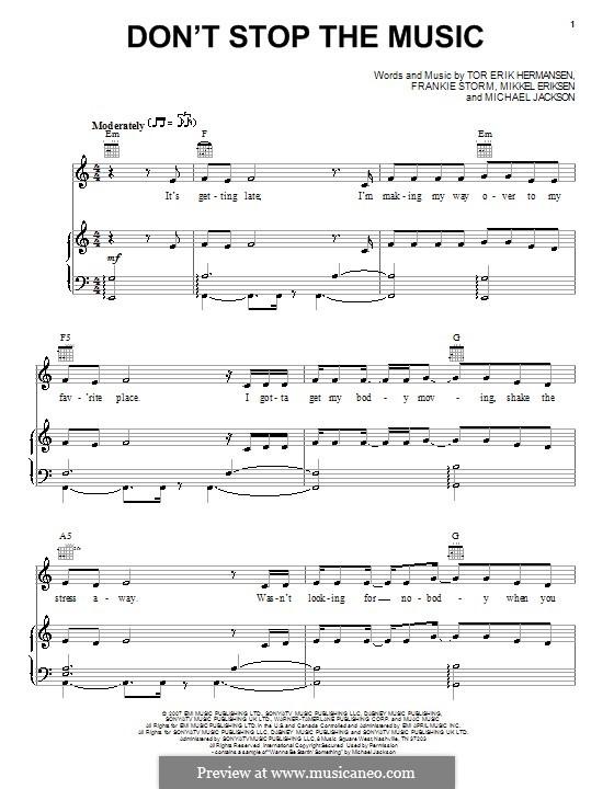 Don't Stop the Music: Für Stimme mit Klavier oder Gitarre (Jamie Cullum) by Frankie Storm, Michael Jackson, Mikkel Storleer Eriksen, Tor Erik Hermansen