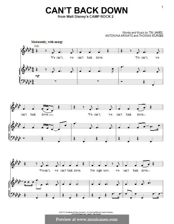 Can't Back Down (Demi Lovato): Für Stimme und Klavier (oder Gitarre) by Antonina Armato, Thomas Armato Sturges, Timothy James