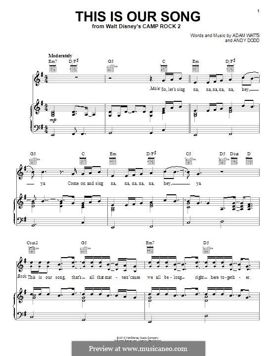 This Is Our Song (Joe Jonas): Für Stimme und Klavier (oder Gitarre) by Adam Watts, Andrew Dodd