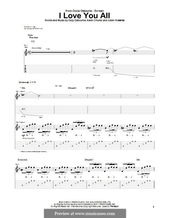 I Love You All (Ozzy Osbourne): Für Gitarre mit Tabulatur by Adam Wakeman, Kevin Churko
