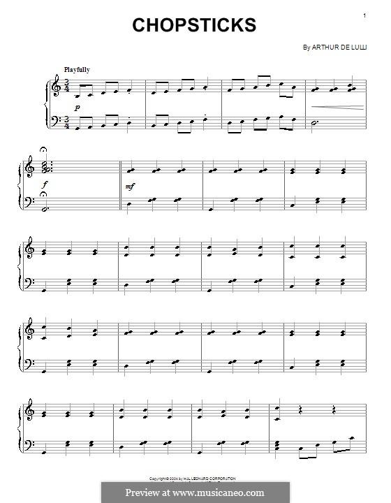 Chopsticks: Für Stimme und Klavier (oder Gitarre) by Arthur De Lulli