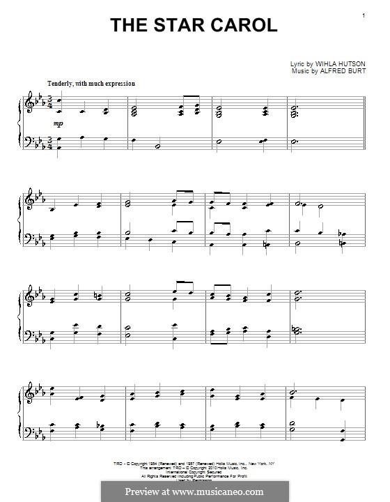 The Star Carol: Für Klavier by Alfred Burt