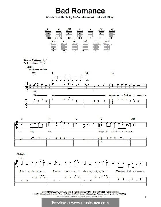 Bad Romance (Lady Gaga): Für Gitarre (Sehr leichte Fassung) by RedOne, Stefani Germanotta