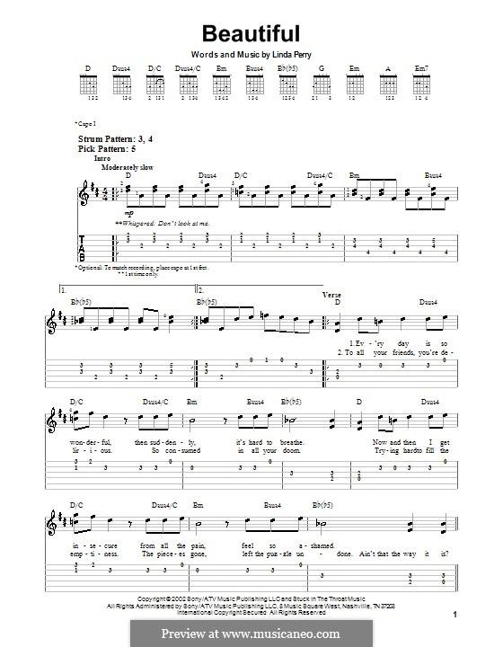 Beautifull (Christina Aguilera & Beverly McClellan): Für Gitarre (Sehr leichte Fassung) by Linda Perry