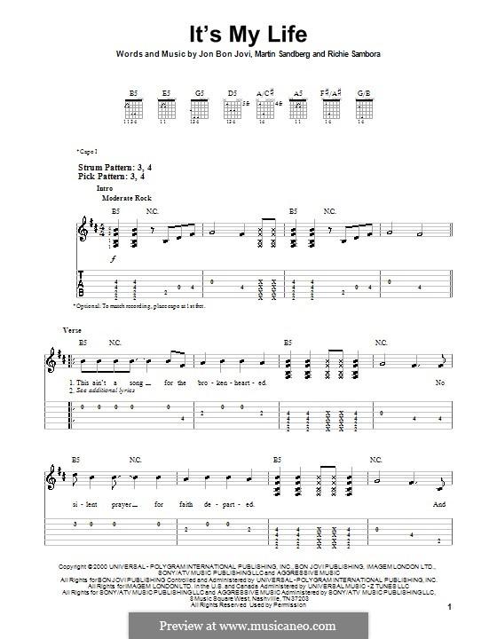 It's My Life (Bon Jovi): Für Gitarre (Sehr leichte Fassung) by Jon Bon Jovi, Max Martin, Richie Sambora