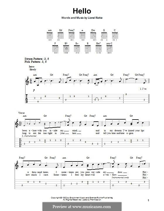 Hello: Für Gitarre (leicht, mit Tabulatur) by Lionel Richie