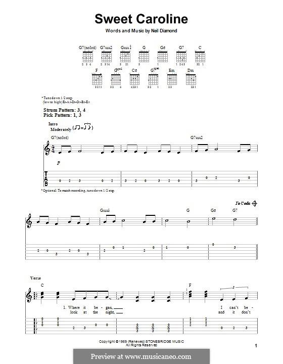 Sweet Caroline: Leichte Tabulatur für Gitarre by Neil Diamond