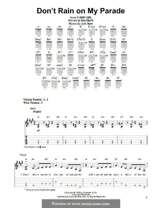 Don't Rain on My Parade: Für Gitarre (Sehr leichte Fassung) by Jule Styne